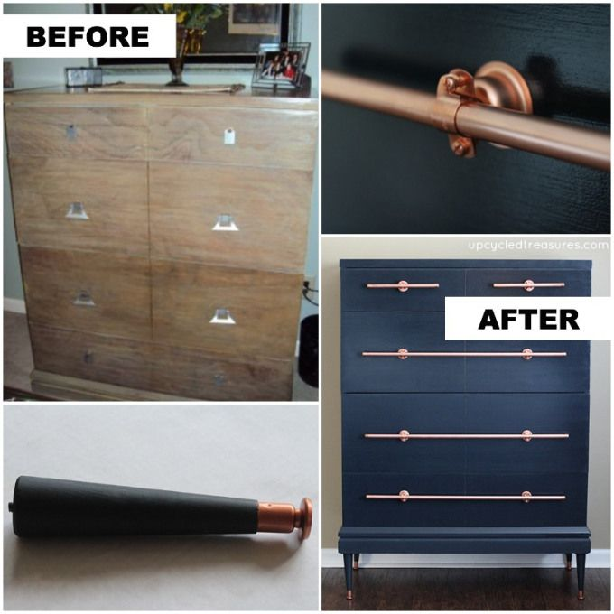 Dresser with DIY Copper Pipe Drawer Pulls   UpcycledTreasures.com #dresser #copper #DIY