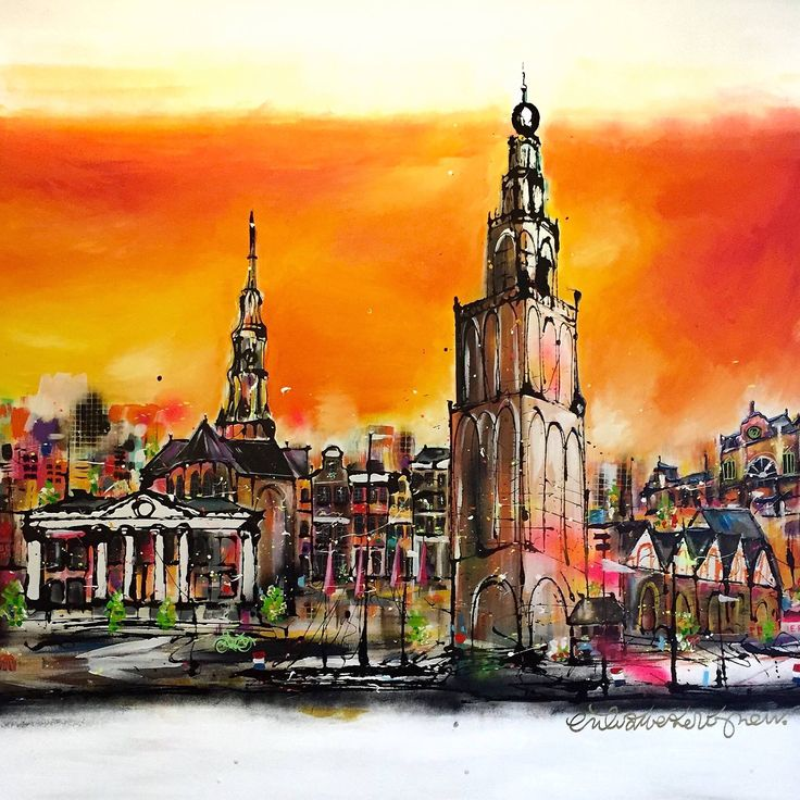 """Happy New Year! To start 2016, let's do it with a bang of color! """"Stad"""" 150 x 150 cm, this painting wants a huge wall! Do you have one? www.erikzwezerijnen.com"""