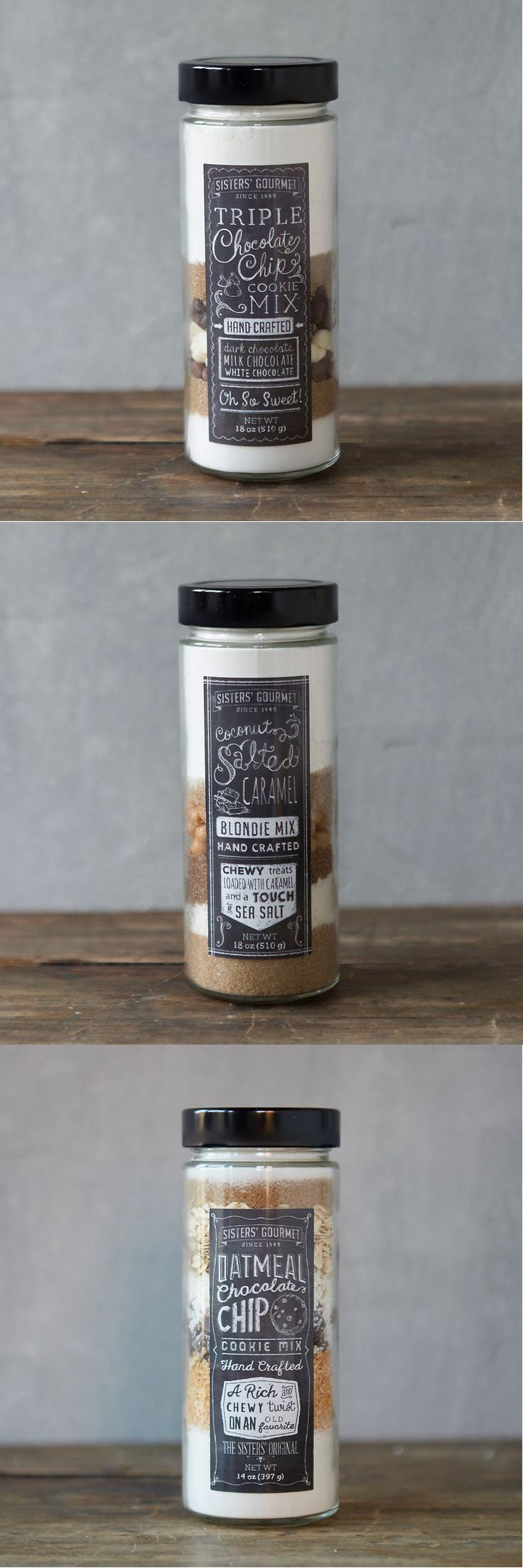 Love the label designs on these cookie mixes.  Each label is different with a rustic chalkboard style.   From Terrain holiday 2015