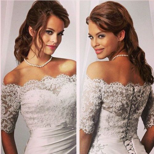安価なホワイトアイボリー花嫁ラップジャケットボレロ女性ショールハーフスリーブレースウェディングアクセサリー2016 SA836