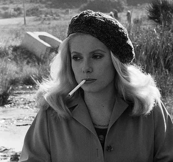 Catherine Deneuve on the set of L'agression (1975)