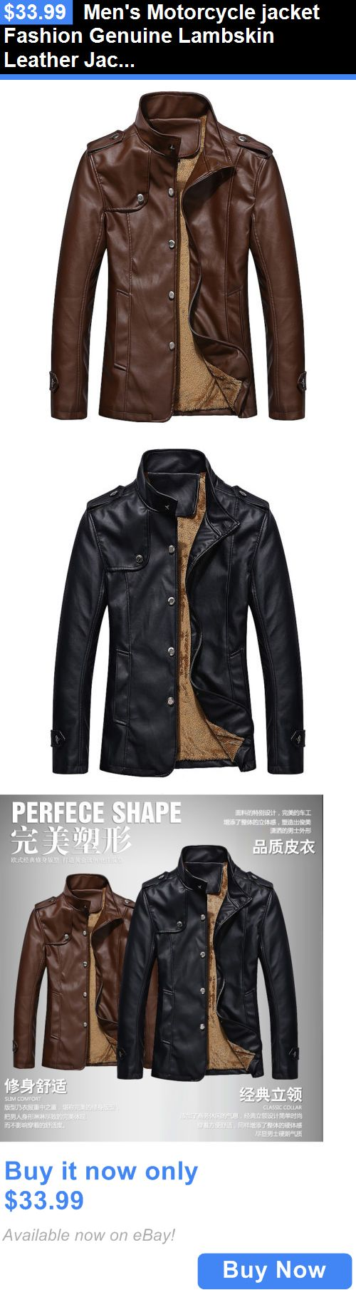 Men Coats And Jackets: Mens Motorcycle Jacket Fashion Genuine Lambskin Leather Jacket Slim Fit Biker BUY IT NOW ONLY: $33.99