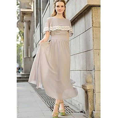 Women's Cape-style Solid Color Swing Maxi Dress – USD $ 31.49