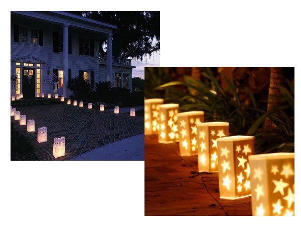 Decoración para boda con velas en bolsas de papel