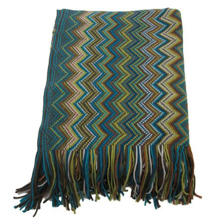 Whether it's draped across your bed or folded over your favorite arm chair, this cozy throw adds a chic pop of style with its multicolor chevron motif and f...