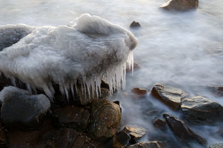 A polar vortex winter morning photographed at Sandy Point State Park in Maryland.