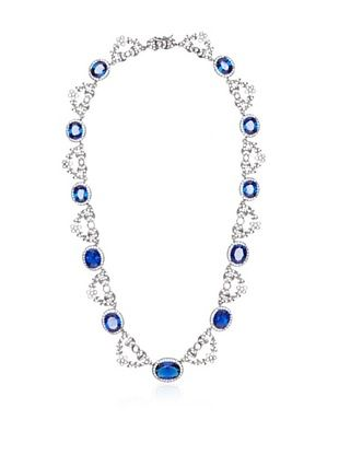CZ by Kenneth Jay Lane Blue Russian Garland Collar Necklace