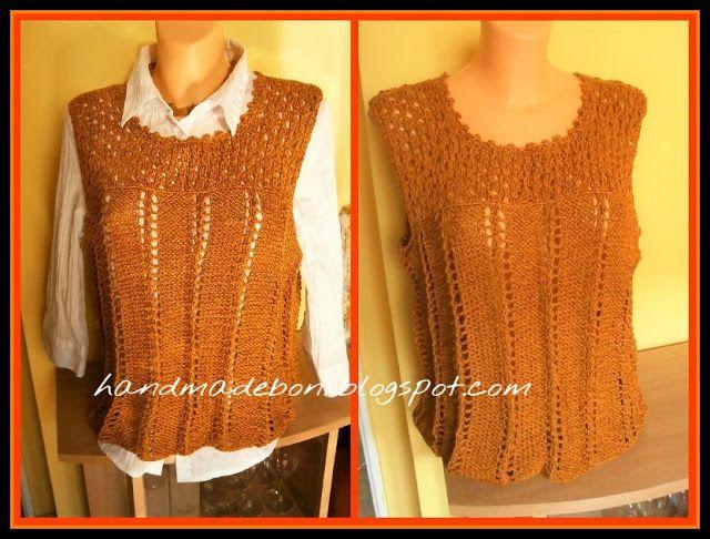 HandmadeBoni: Ruda bawełniana bluzka bez rękawów - druty.