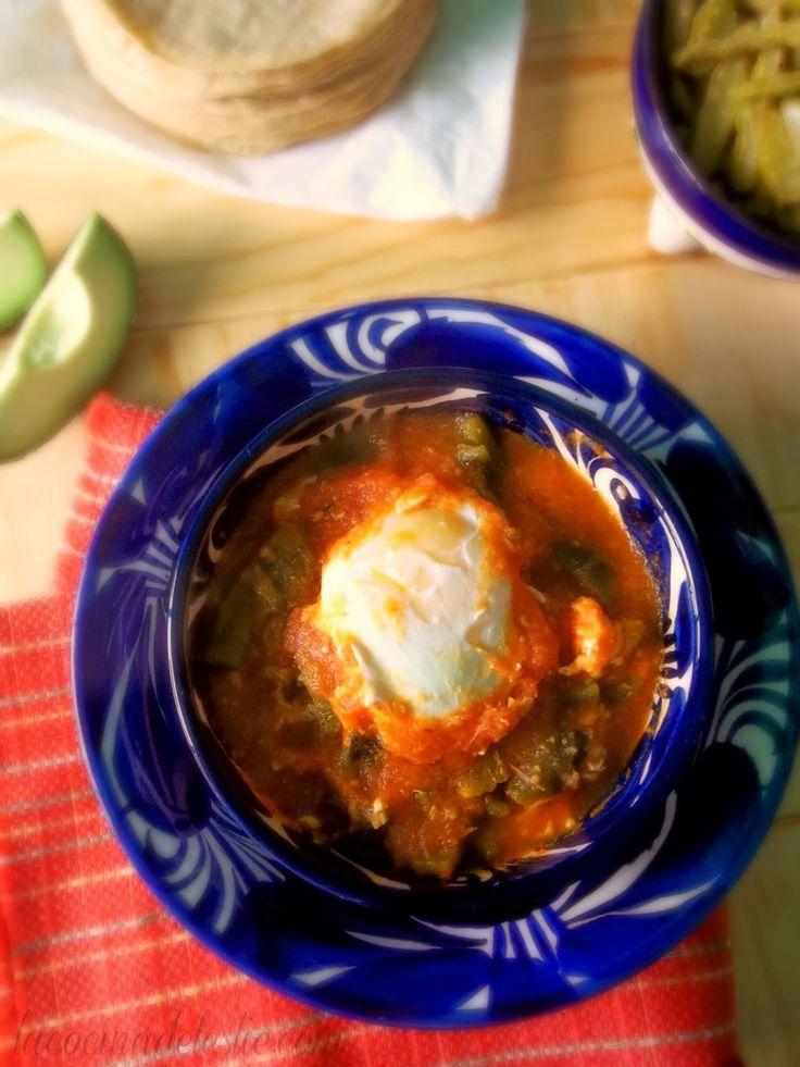Huevos Ahogados (Eggs in Tomato Salsa w/ Roasted Poblano Strips) from La Cocina de Leslie