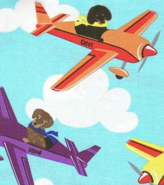 """LARGE BLANKET, """"Doxies, Dachshund dogs in Planes"""" designer cotton fabric with MINKY back, large blanket, 36"""" x 44"""","""