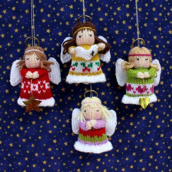 Knitting Patterns LITTLE ANGELS Christmas decoration Doll knitting von dollytime