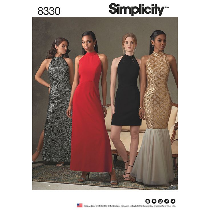 Misses Dress with Skirt and Back Variations Simplicity Sewing Pattern 8330.
