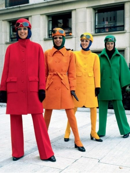Top to toe colour.  1960s fashion.  Braniff flight attendents..Those were the days!