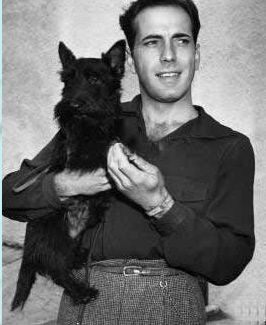 Humphrey Bogart with one of his Scotties