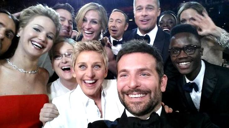 "<p>DeGeneres took a second turn hosting the Oscars on March 2, 2014 and officially created what was then the most tweeted selfie of all time — with help from other A-Listers in the audience including Jennifer Lawrence, Brad Pitt and Julia Roberts — to name a few. <a href=""https://twitter.com/TheEllenShow/status/440322224407314432"">(@TheEllenShow/Twitter)   </a></p>"