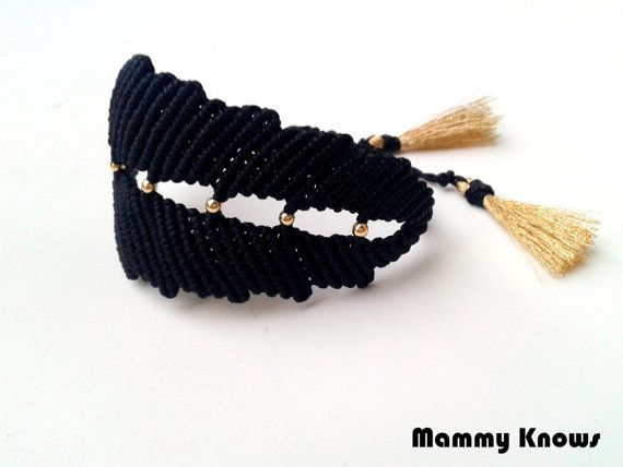 LEAF Macrame bracelet ~ Black satin cord ~ Gold thread ~ Gold platterd ornaments ~ Boho Chic~ Design by Mammy Knows #handmade #etsyretwt