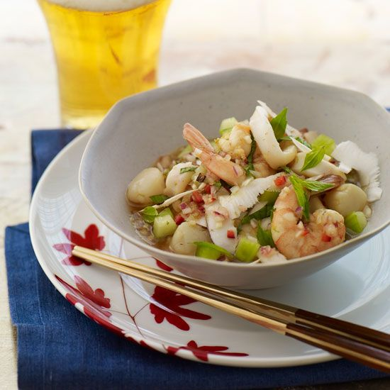 Thai Ceviche with Coconut | A refreshing starter or light main course, Sang Yoon's Thai take on a Latin American classic is a perfect balance of crunchy, tender, sweet, hot and tart.