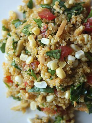 Corn and Spinach Quinoa Salad Recipe - Light Summer Dinner Recipes - Redbook (wish I knew this recipe when I had all the limes in my fridge!)
