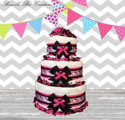 Hello Kitty Zebra Print 3 Tier Diaper Cake /Centerpiece /Baby Shower Gift