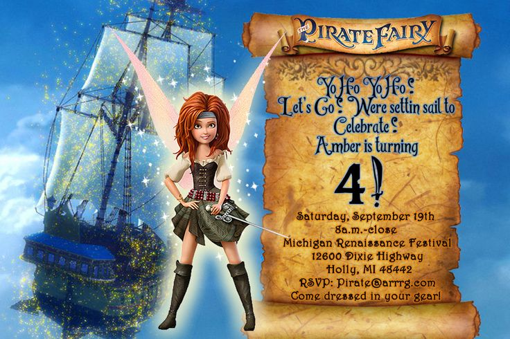 Pirate Fairy   Zarina Silvermist Chalkboard Invite-Pirate Fairy Chalkboard Invitation Disney's Tinkerbell Chalkboard Card - Custom by KidzPartyPrintables on Etsy