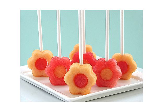Fun lunch box snack ideas | Mouths of Mums | fruit flowers - great idea on straws = no sharp skewers!