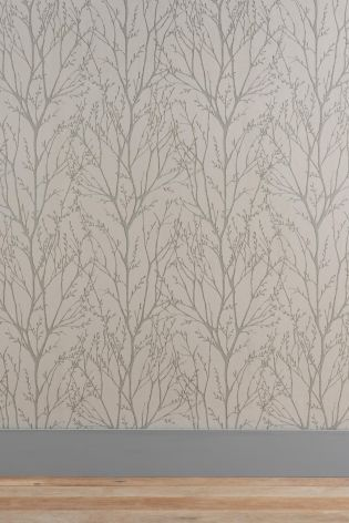 Buy Pewter Twigs Wallpaper from the Next UK online shop - behind the mirror wall