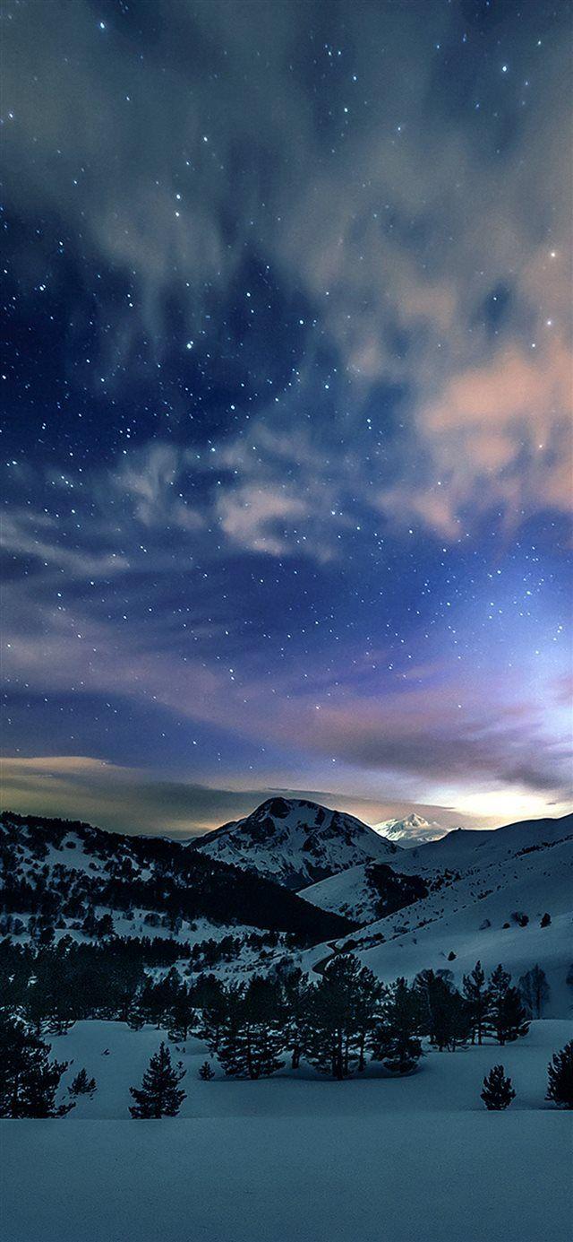 Aurora Star Sky Snow Mountain Winter Nature iPhone X wallpaper – Kari Murphy