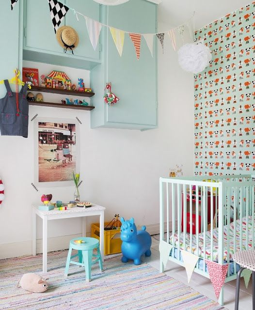 the boo and the boy: eclectic kids' rooms  This would be such a cute room Could add more yellows and pinks for the girls.