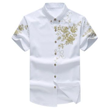 Mens Floral Printing Fashion Chinese Style Turn-down Collar Short Sleeve Big Size Shirts at Banggood