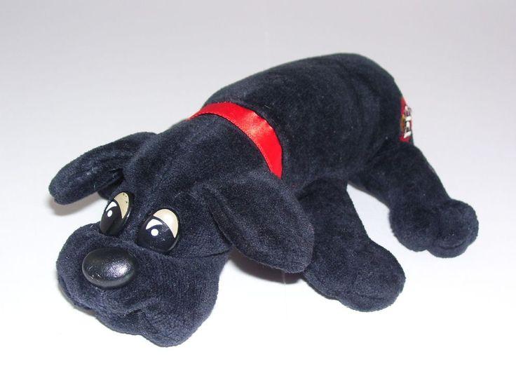 "Pound Puppy Small 8"" Black 1986 Tonka Vintage Red Collar Baby Puppy #Tonka"