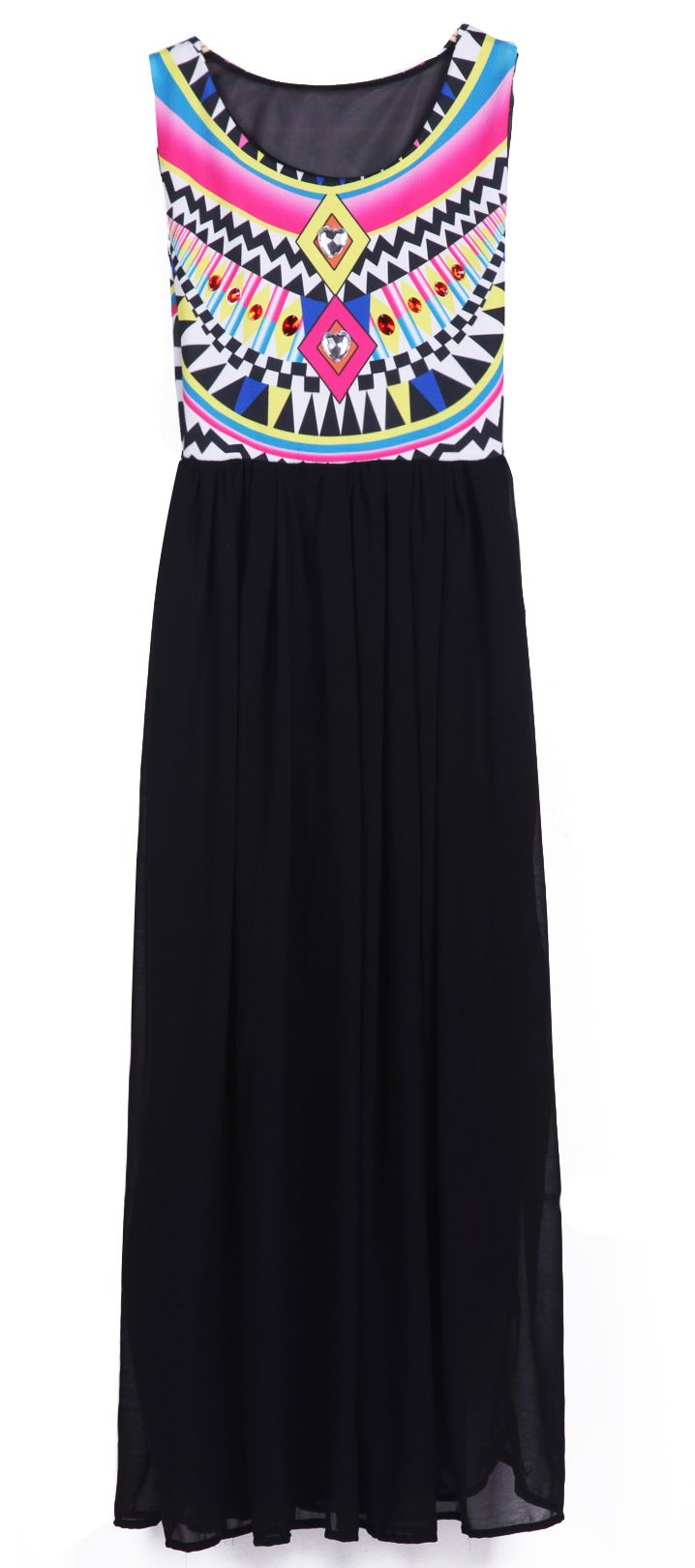 Black Sleeveless Geometric Tribal Print Chiffon Dress - only $22