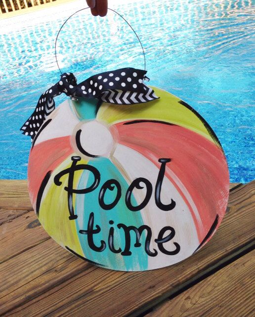 Pool Time Beach Ball Door Hanger - Life is better by the pool- summer