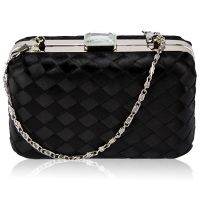 Black evening clutch, satin clutch, metal clutch