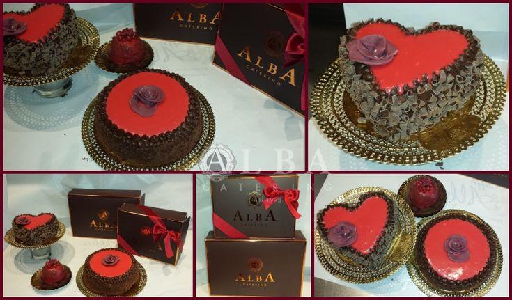 Le proposte di Alba Catering per la festa degli innamorati. Torte a forma di cuore