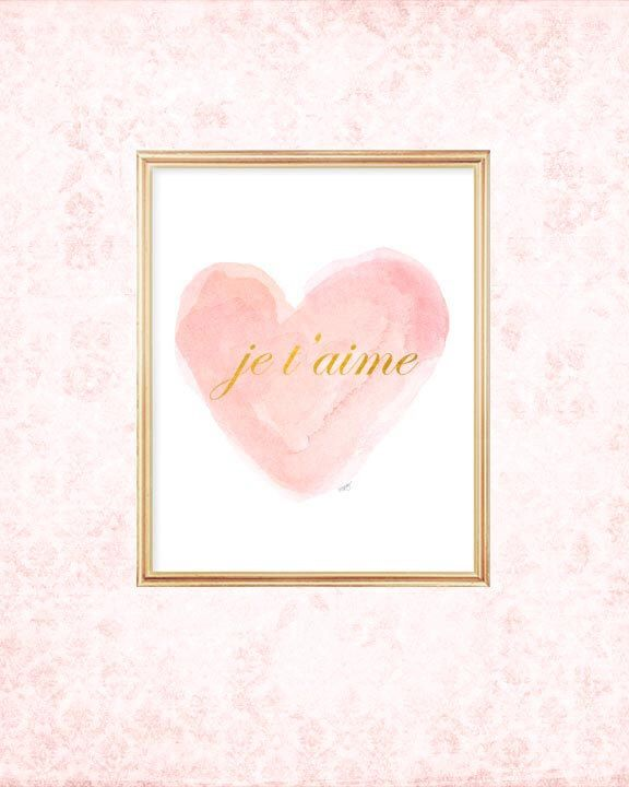 (Purchased) Blush and Gold Nursery Art, 8x10 Watercolor Heart, Je t'aime, Pink and Gold Nursery Decor, Pink and Gold Art, French Art, Nursery Artwork by OutsideInArtStudio on Etsy https://www.etsy.com/listing/222423531/blush-and-gold-nursery-art-8x10