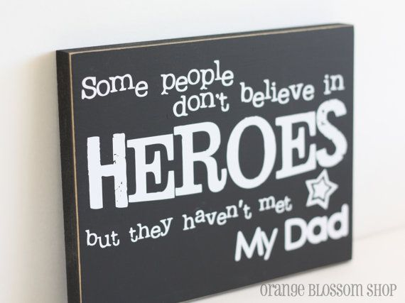 Father's day dad gift hero wooden sign by orangeblossomshopaz, $14.00
