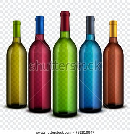 Stock Photo: Realistic transparent glass wine bottles isolated on checkered background set. Collection bottle glass for wine illustration -