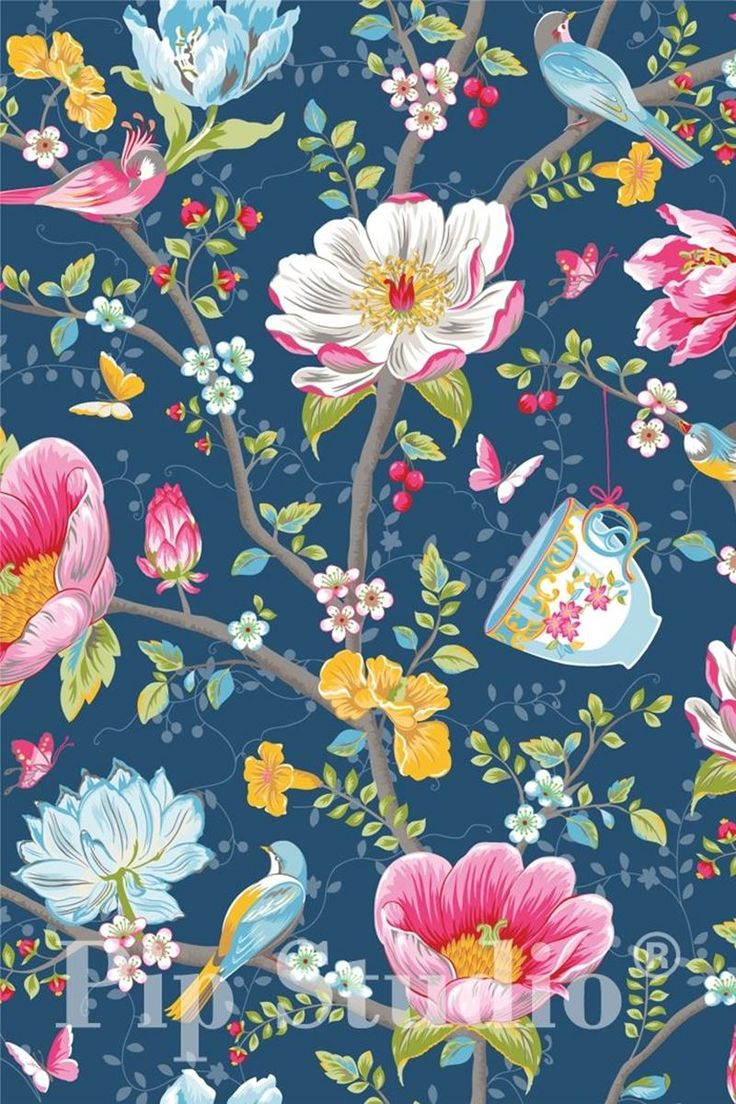 PiP Studio 'Chinese Garden' Wallpaper, Dark Blue