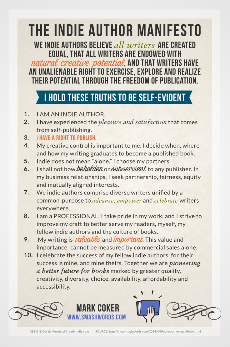 Indie Author Manifesto: 10 Indie Author Principles Smashwords, Mark Coker