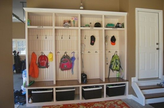 Mud room IN the garage. Great idea!!