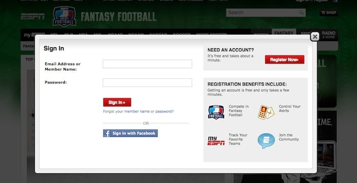ESPN Fantasy Football Login