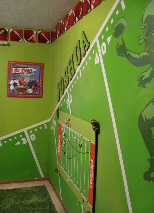 This turned out good in the boy's room with a GB Packer theme.  Didn't do the boarder & painted top half the room a tan/brown color.. a lot of tape, patience & time, but totally worth it.
