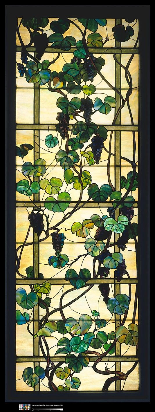 Grapevine Panel  Designed by Louis Comfort Tiffany  (American, New York City 1848–1933 New York City)    Maker:      Tiffany Studios (1902–32)  Date:      ca. 1902–15  Geography:      Mid-Atlantic, New York City, New York, United States  Culture:      American  Medium:      Leaded Favrile glass  Dimensions:      98 x 36 in. (248.9 x 91.4 cm)  Classification:      Glass  Credit Line:      Gift of Ruth and Frank Stanton, 1978