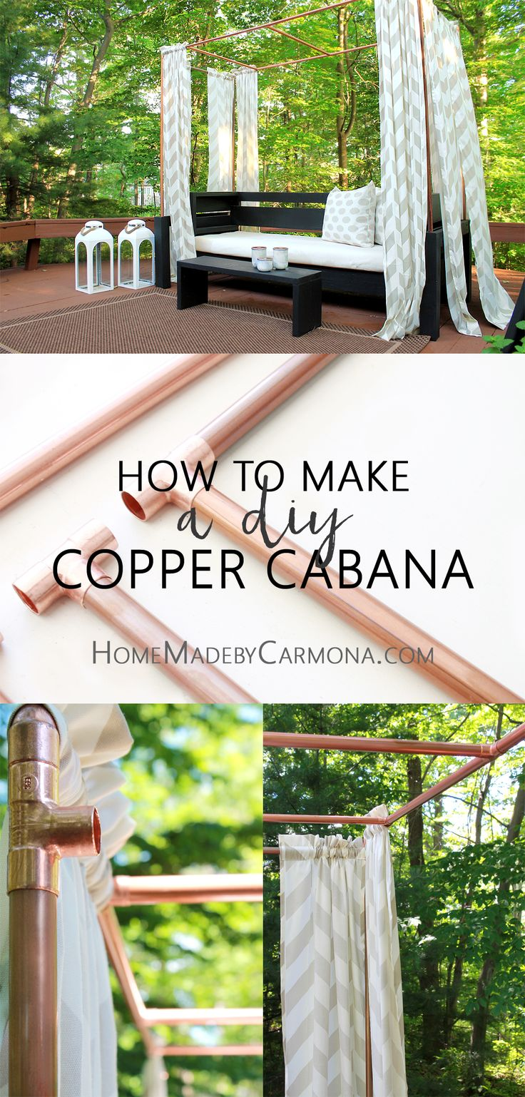 Stunning and easy cabana made from copper pipes! Such a smart tutorial!  #copper…