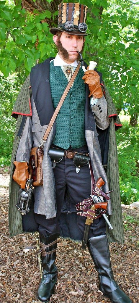 Steampunk Gentlemens Victorian Attire, Steampunk Sherlock Holmes Victorian Period Costume, Steampunk Ideas for Mens Attire