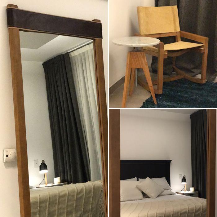 dormitorio espejo de pie mecedora mesa de costado madera cuero y