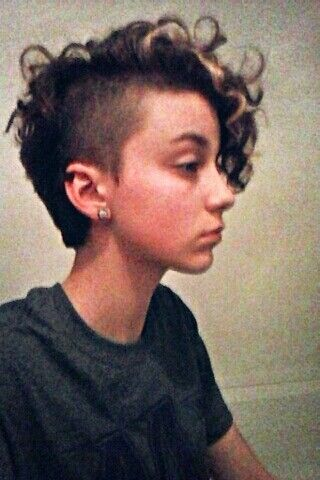 Curly hair Side shaved Pixie cut