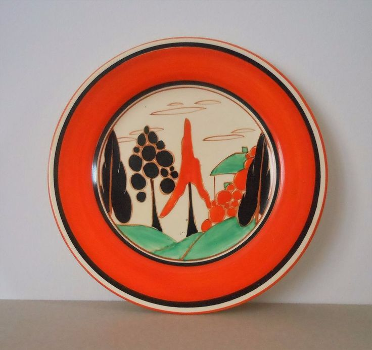 It is decorated in the sought after ORANGE TREES & HOUSE pattern. The underside is marked 'Hand painted Bizarre by Clarice Cliff Newport pottery England' There is also a Made in England stamp. | eBay!