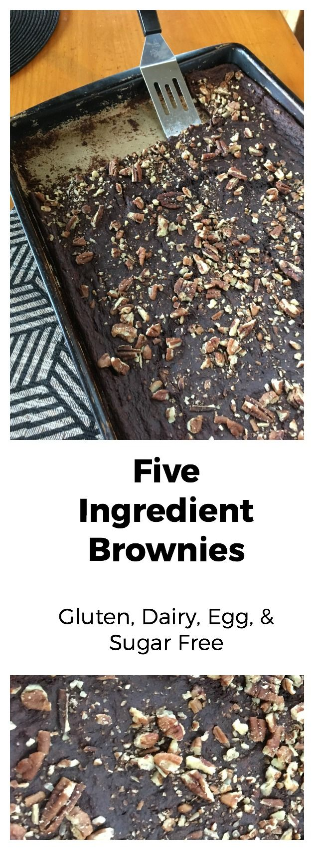 These are a favorite of the family. I even get request to bring them to work, from co-workers who are accustomed to the traditional brownie. I leave 1/2 the pan plain, sprinkling the other half with crushed pecans when I share them with others. Seems like each side disappears in equal proportions. ♥ Shelly Don't forget to pin FIVE INGREDIENT BROWNIES to your favorite Pinterest board for later!