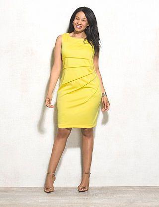 Plus Size Yellow Ruched Sheath Dress